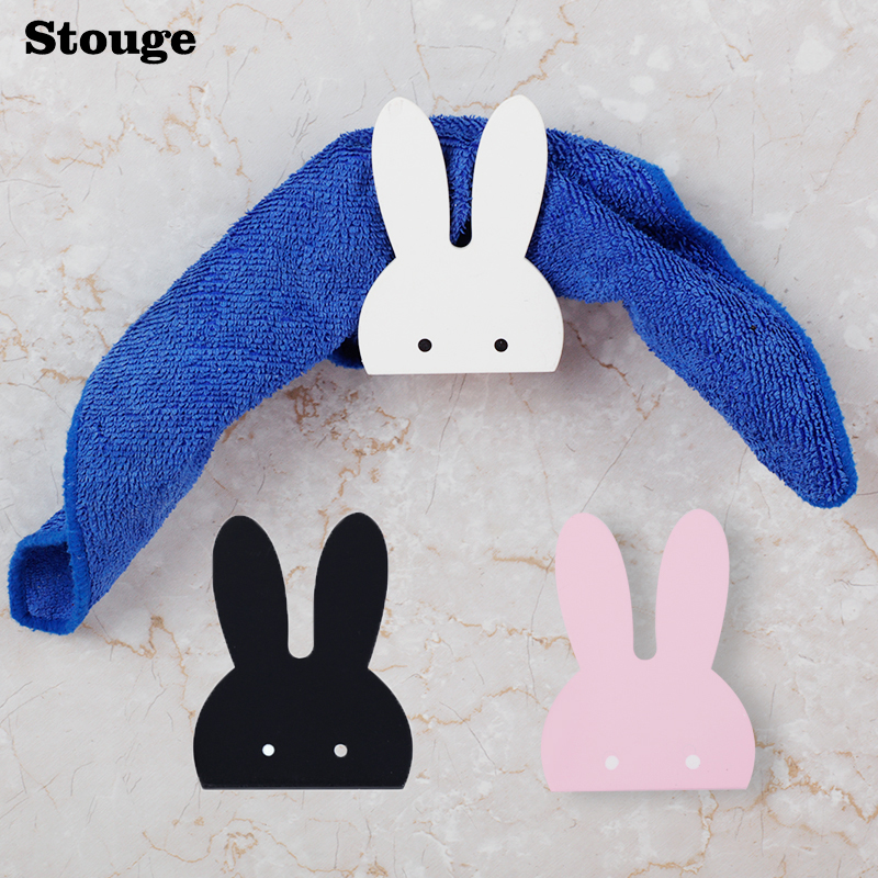 Stouge 1PC INS Hot Sale Rabbit Wooden Hook Clothe Towel Wall Hook Cartoon Kids Room Decoration Hook Wood Bunny Clothing Hanger