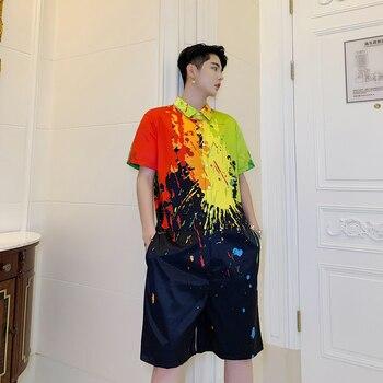 M-XXXL! Summer personality color splash ink printing men's short-sleeved shirt suit nightclub tide men's youth jumpsuit five pa.