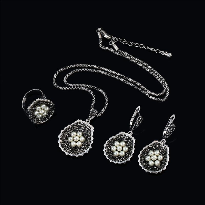 K'S Gadgets bijoux turcs boucles d'oreilles en cristal noir mode dames ensembles de bijoux perles bleues collier de fleurs anneau