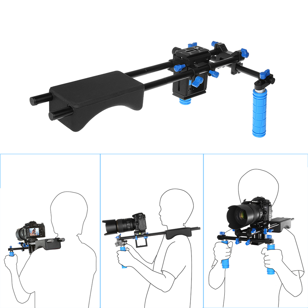 Portable FilmMaker System & DSLR Video Stabilizer Shoulder Mount Rig Dual-Handgrip For DSLR Video CANON SONY Nikon f14123 commlite cs v1aluminum alloy handgrip holder dslr shoulder mount rig camera stabilizer dslr rig easy for shooting camera