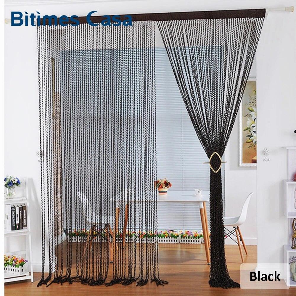 rideau de porte a cordes en spirale de couleur unie nouveau style separateur de piece avec pompon decoration pour la maison w100l200