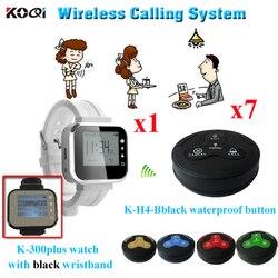 Połączenia bezprzewodowego wywołanie systemu restauracja 433.92 MHZ zegarek odbiornik i klienta zadzwoń kelner (1 zegarek pager + 7 wodoodporna buzzer)