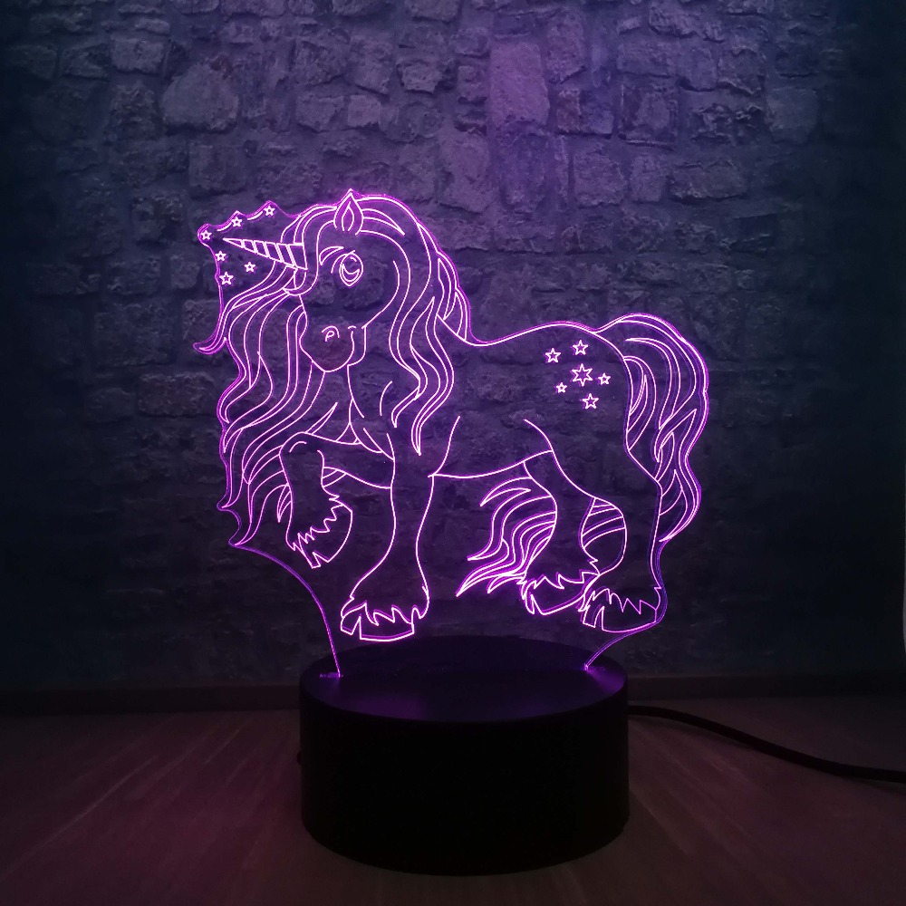 Image 5 - New Kawaii Unicorn Star 3D LED Lamp 7 Colors Change Home Night Light Multicolor RGB Bulb Room Decorative Child Gift Kids Toys-in LED Night Lights from Lights & Lighting