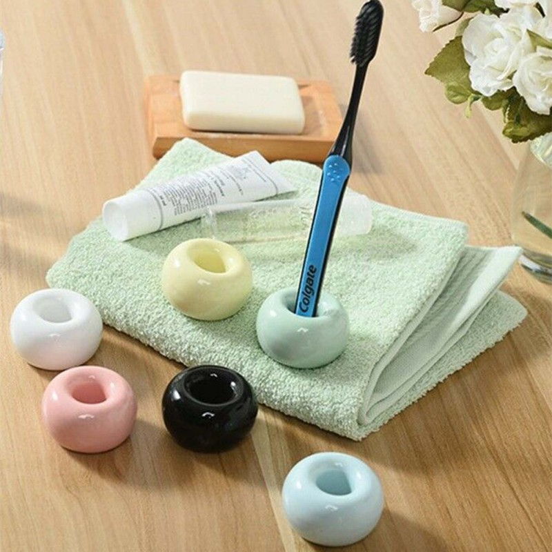 Novel Donut Ceramic Toothbrush Holder Candy Color Cute Multifunction Base Frame Bathroom Accessory image