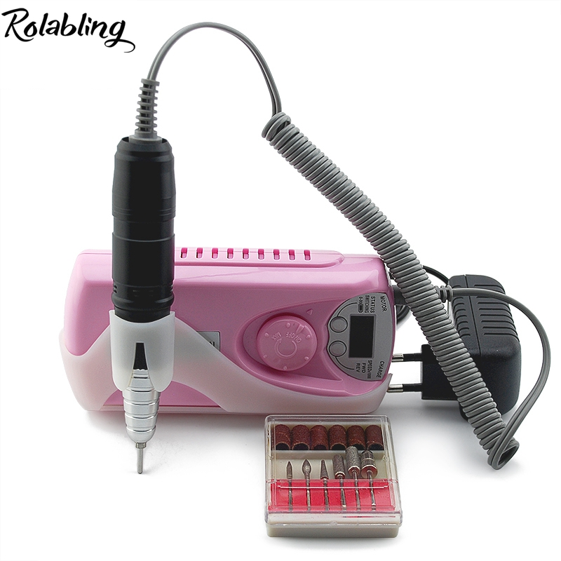 Rolabling Pink 0-30000 RPM Adjustable Speed Portable Electric Nail Drill Machine Manicure Kits File Drill Bits  Nail Salon Tools rolabling 110v