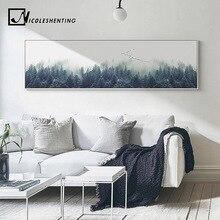Скандинавские украшения лесной пейзаж стены искусства холст плакаты и печатает длинные живопись картина для гостиной домашнего декора