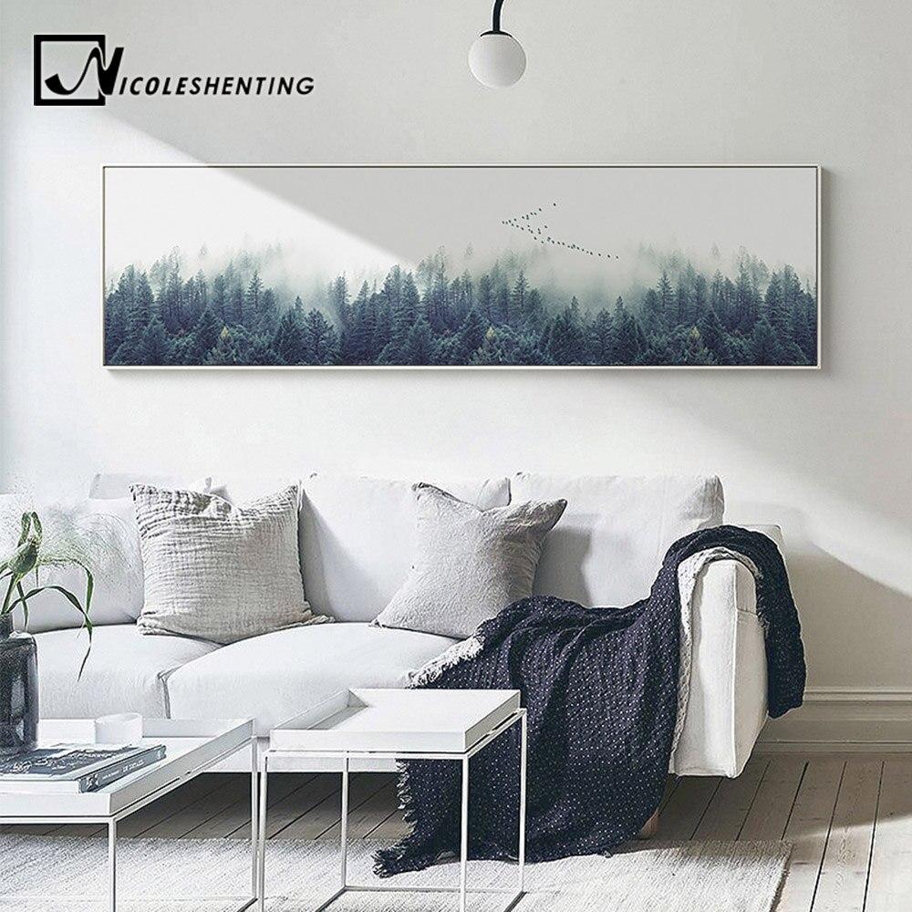 Lange Muur Decoreren.Nordic Decoratie Bos Lanscape Muur Canvas Posters En Prints Lange