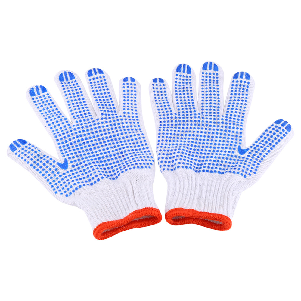 12 pairs/Lot Anti Skid Wear Resistant Gloves Blue Plastic Dot Light Comfortable Safety Labour Protection Cotton Mitten