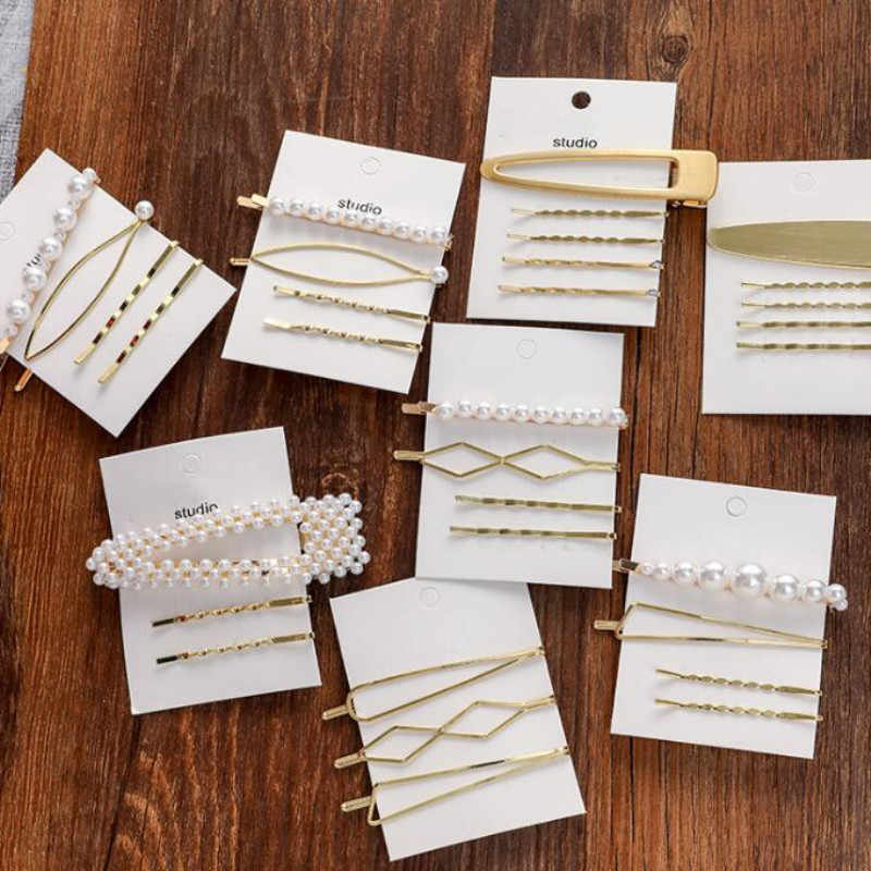 Timlee H019 Free shipping Sweet Cute Geometry Imitation Pearl Alloy Barrettes Hair Clip Set Fashion Hair Accessory Wholesale