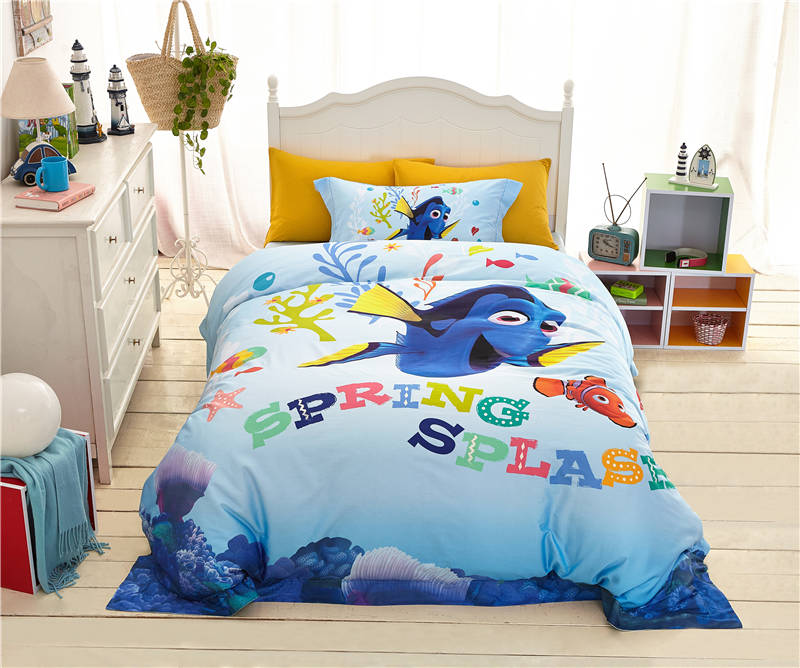 High Quality 1000tc Cotton Finding Nemo Cartoon Print Bedding Set Boys Bedroom Decor Bed Cover