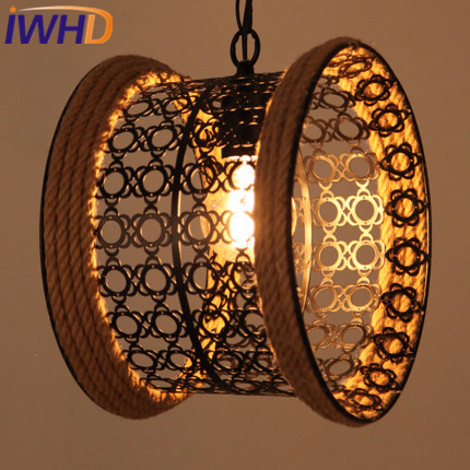 IWHD Iron Vintage Lamp Industrial Pendant Lights Loft Style Retro Cylindrical Hemp Rope Hanging Lamp e27 220v for decor iwhd gold iron style loft industrial vintage pendant lights retro birdcage hanging lamp kitchen dining room luminaire suspendu