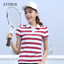 ZYFPGS 2018Polo Shirts Summer Casual Polos Striped  printing Slim Breathable Short Sleeve Shirt Clothes For Women L0520