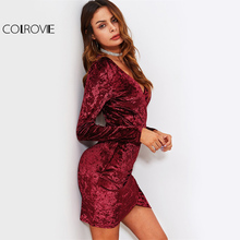 COLROVIE Crushed Velvet Sexy Ruched Dress Bodycon Women Overlap Wrap Party Dresses Fall 2017 Fashion Hi-Lo Elegant Mini Dress(China)