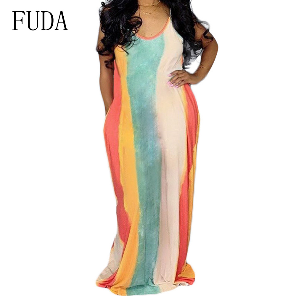 FUDA Summer Clothes for Women Sexy Sleeveless V Neck Loose Dresses Casual Vintage Boho Striped Long Dress Femme Beach Party Wear