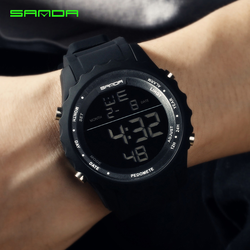 SANDA G watch Man Rubber Tactical Military Sport Wrist Watch Mens Watches Top Brand Luxury LED Digital Date Quartz Watch mens luxury sports stainless steel digital led military date quartz wrist watch