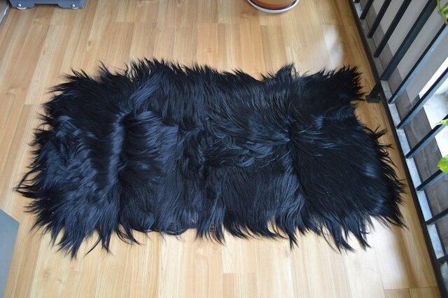 Free Shipping 110x55cm Real Goatskin Rugs Nature Mongolian Long Hair Goat Decorative Carpet Skin Blanket