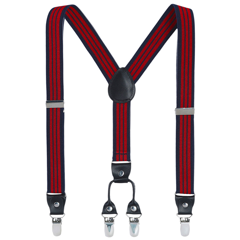 AWAYTR 110 Cm Large Size Men Suspenders 2.5cm Width Women 4 Clips Leather Adjustable Braces Clips-on Clothing Accessories