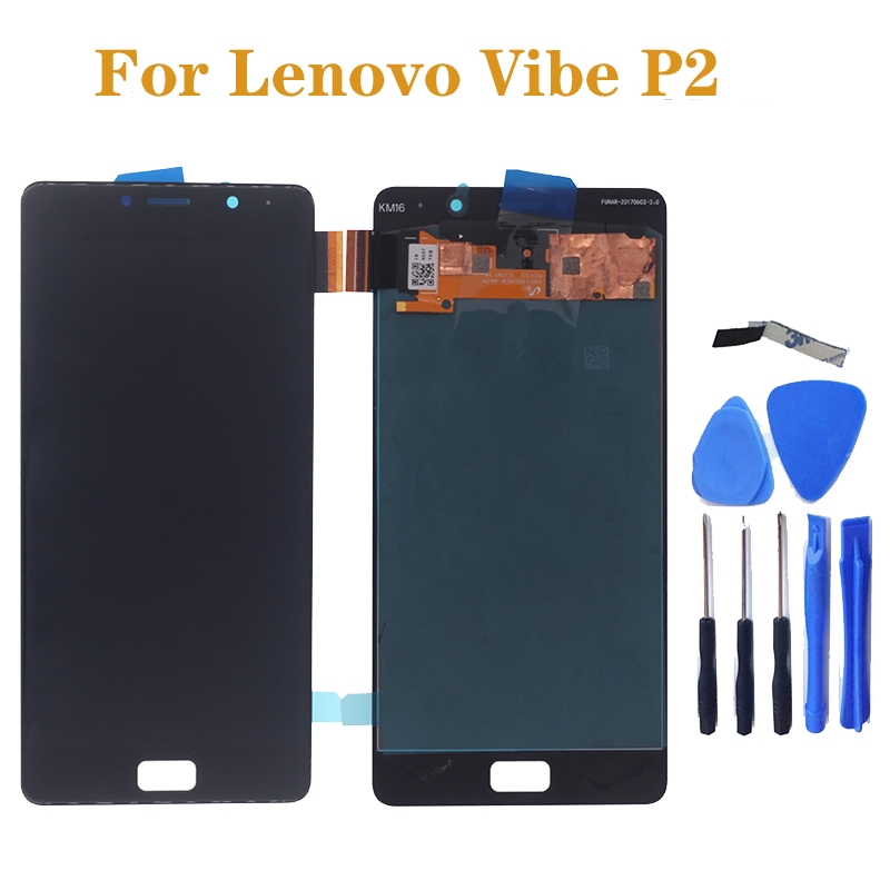 "5.5"" AMOLED display For Lenovo Vibe P2c72 P2a42 P2 LCD + touch screen sensor assembly replacement for Lenovo Vibe P2 repair part-in Mobile Phone LCD Screens from Cellphones & Telecommunications"