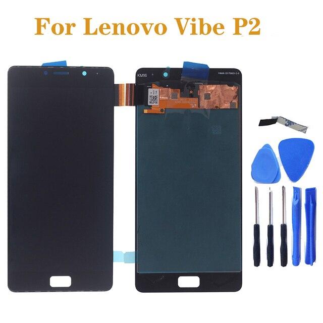 """5.5 """"SCHERMO AMOLED display Per Lenovo Vibe P2c72 P2a42 P2 LCD + sensore touch screen assembly di ricambio per Lenovo Vibe p2 parte di riparazione"""