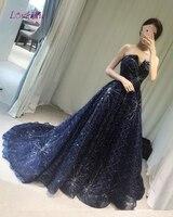Loverxu Real Photo Sexy V Design Long Royal Blue Evening Dresses 2018 Strapless Sequined Party Gown Vestido De Festa Plus Size
