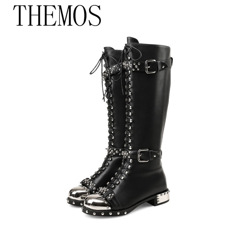 THEMOST European and American fashion sexy female leather boots brand style Knight boots rivets themost sexy fish mouth hollowed out roman sandals fashion foreign trade european and american style four colors can be selected