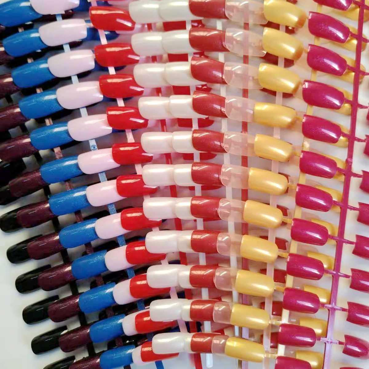 24 قطعة الأظافر موضة بيضاء كاذبة لامعة أظافر صناعية وهمية طويلة الحجم سيدة الأظافر للإصبع لتقوم بها بنفسك صالون الأظافر الديكور