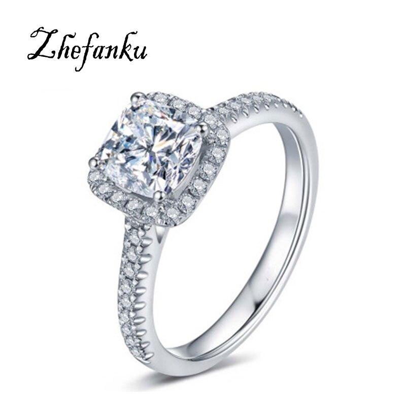 טבעת ריבוע חדשה כסף טבעת נישואין - תכשיטי אופנה