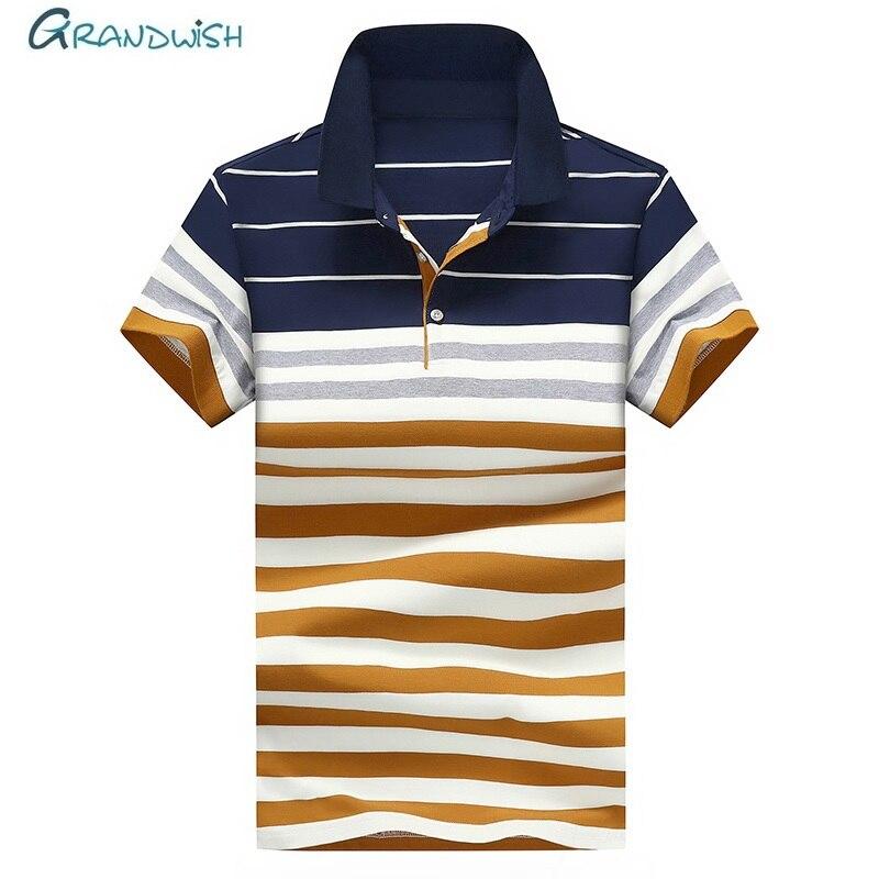 de749349aa6 Grandwish летние для мужчин поло s Модные короткий рукав Slim Fit рубашки в  полоску Busines