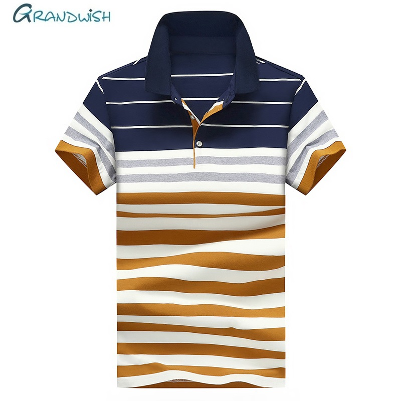 Grandwish Summer Men   Polos   Fashion Mens Short Sleeve Slim Fit   Polo   Shirts Striped Busines Male   Polos   Male Clothing 4XL ,GA190