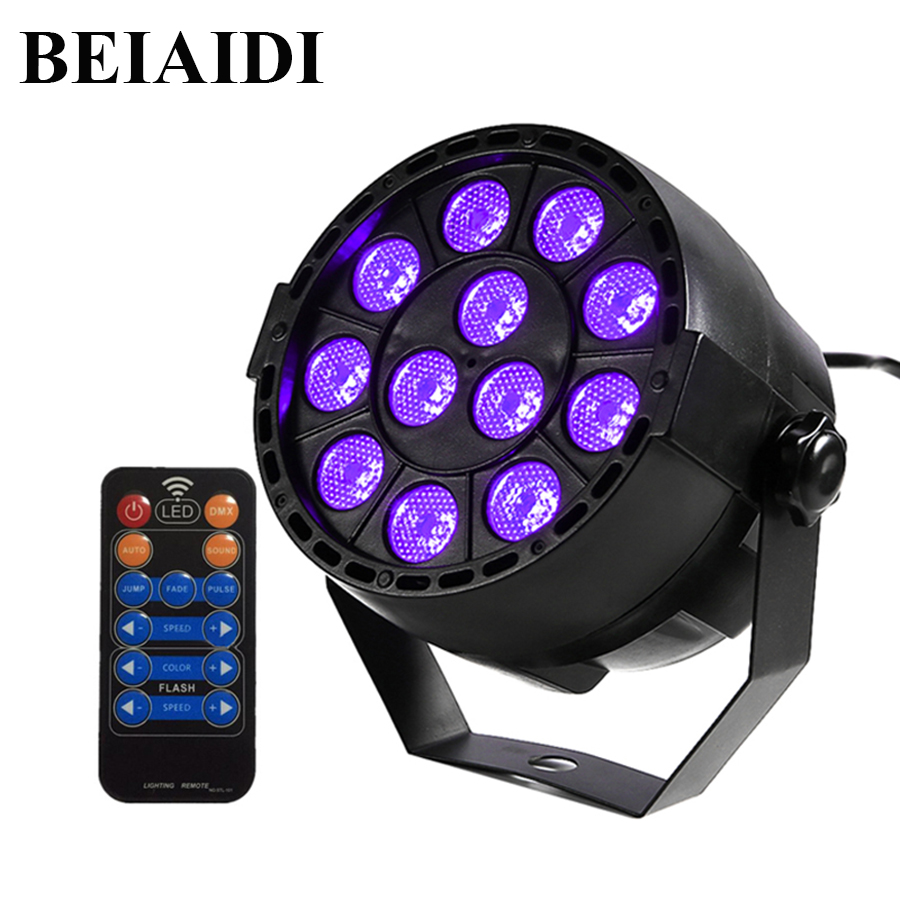 BEIAIDI UV Led Stage Light Black Light Par Light With Remote Sound Active 12 LEDs Auto DMX Spotlight Lamp for Disco DJ Club Show 36w uv led stage light black light par light ultraviolet led spotligh lamp with dmx512 for disco dj club show party decoration