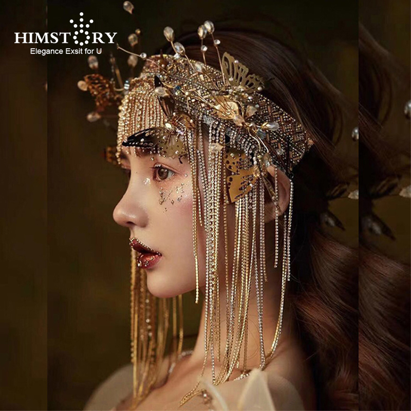 HIMSTORY Retro Baroque golden butterfly tiara handmade bride headdress hairband Party Prom Pageant Gold Tassel Hair Accessorie