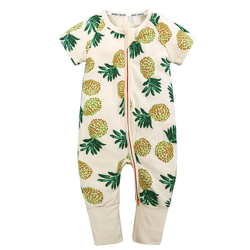 2018 Summer Baby Pineapple Print Jumpsuit Quality Cotton Baby Boy Girl Clothes Newborn Baby Overalls Kids Dinosaur Bamboo Bebe