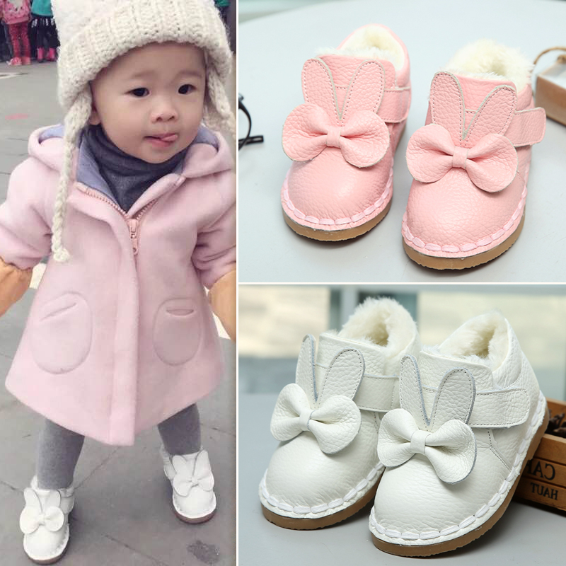 Genuine Leather Baby Cotton Shoes Winter Baby Shoes Winter Boots Girls Plus Velvet Toddler Shoes Children's Boots Soft Bottom