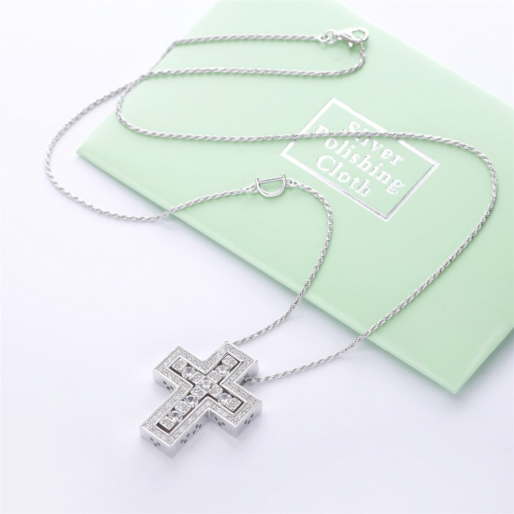 Image 3 - Slovecabin Hole Cross Double D Letter Chain Belle Epoque Zircon  Pendant Necklace Jewelry 100% 925 Sterling Silver Italy LuxulryChain  Necklaces