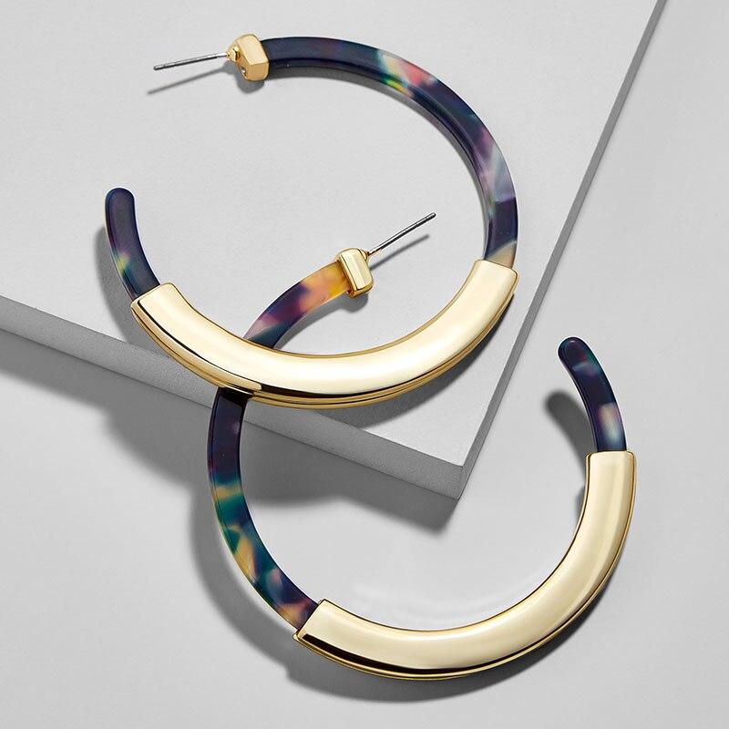 Fashion Bohemia Acrylic Acetate Hoop Earrings for Women Vintage Leopard Print Circle Hoops Alloy Earring za jewelry Female 2018