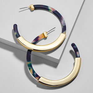 Fashion Bohemia Acrylic Acetate Hoop Earrings for Women Vintage Leopard Print Circle Hoops Alloy Earring za jewelry Female 2019