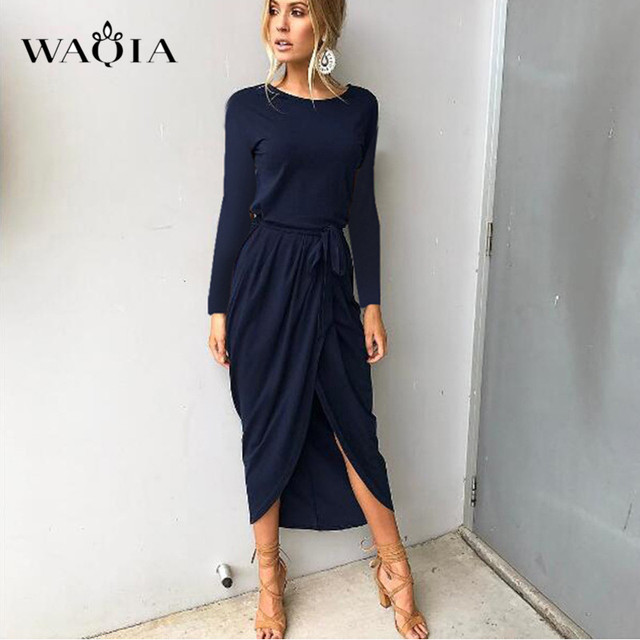 Aliexpress.com : Buy WAQIA Plus Size Summer Dress 2018 Women Solid ...