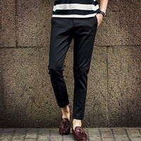 Calças Harém primavera Verão do Tornozelo-Comprimento Vestido Ocidental-Estilo Calças Retas Calças Masculinas Calças Dos Homens Slim Fit Terno