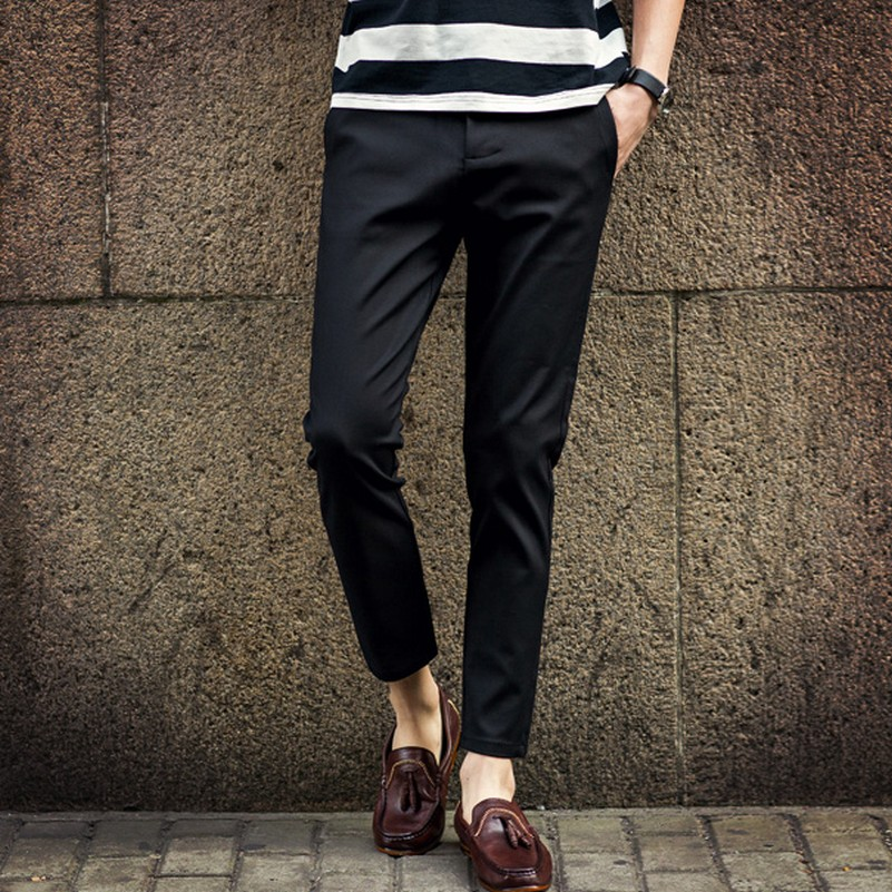 3dd24152 US $37.42 25% OFF Spring Summer Harem Ankle Length Dress Pants Straight  Western Style Trousers Male Trousers Men Slim Fit Suit Pants-in Skinny  Pants ...