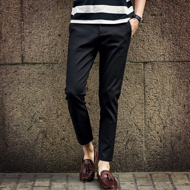 Spring Summer Harem Ankle Length Dress Pants Straight Western Style Trousers Male Trousers Men ...
