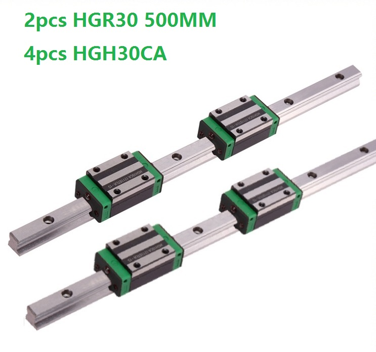 2pcs Linear Guide Rail HGR30 -L 500MM And 4pcs HGH30CA Linear Narrow Sliding Blocks Carriages CNC Router Parts2pcs Linear Guide Rail HGR30 -L 500MM And 4pcs HGH30CA Linear Narrow Sliding Blocks Carriages CNC Router Parts