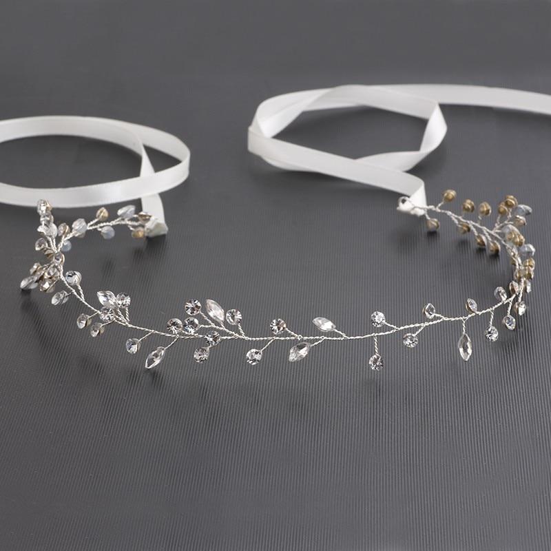 Dower me Simple Crystal Wedding Headband Hair Vine Bridal Hair Accessories Bridesmaid Headpiece Silver Crown