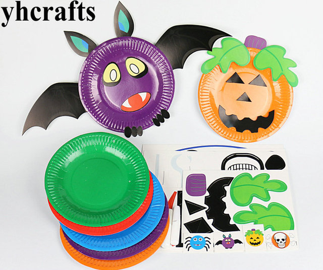 10pcs Lot Diy Halloween Paper Plate Craft Kits Early Educational