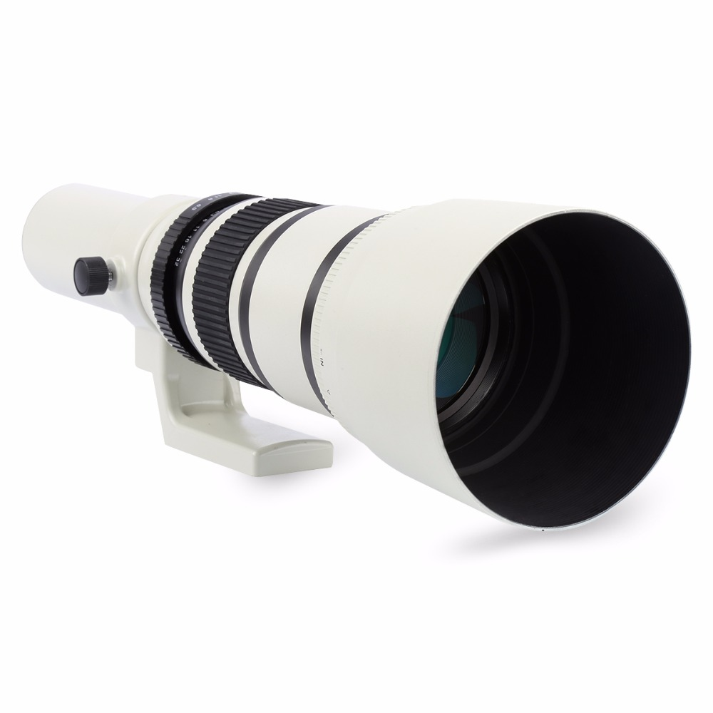 White 500mm F/6.3 Telephoto Fixed Prime Telephoto Lens+T2 Lens Adapter Ring for Canon Nikon Sony Pentax DSLR Cameras 3