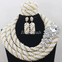 2015 Pretty African White Beads Jewelry Sets Champagne Nigerian Traditional Wedding Bridal Necklaces Sets Free Shipping AIJ262