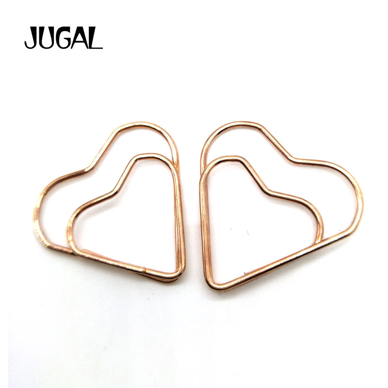 Creative Metal Heart-shaped Bookmarks Color Gold Office Paper Clip Learning Supplies Stationery 200pcs/lot