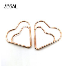 Creative Metal Heart shaped Bookmarks Color Gold Office Paper Clip Learning Supplies Stationery 200pcs/lot