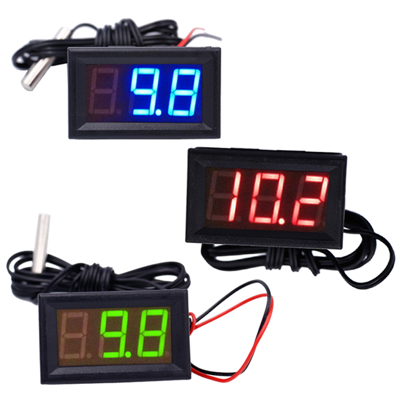 Digital 12V Temperature Monitoring tester Thermometer With Temp Probe LED meter -50~100C az 8891 digital wall mounted waterproof thermometer w long probe boiler water temperature meter tester