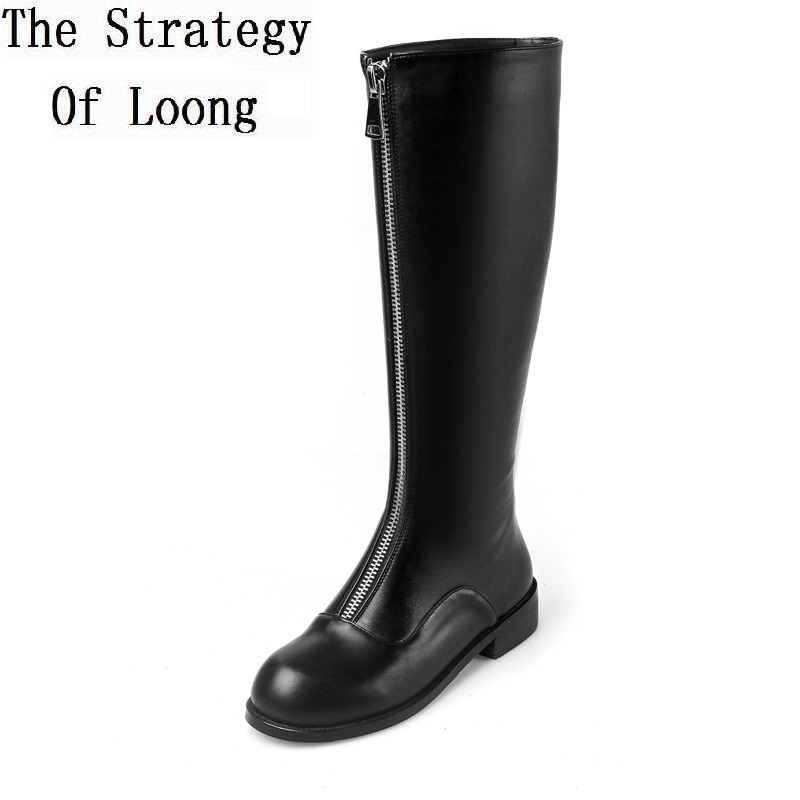 Women Autumn Winter Genuine Leather Boots Round Toe Front Side Zipper Hoof Heels Fashion Knee High Lady Boots Plus Size 41 asysplnx sheepskin genuine leather round toe high heels fashion knee high boots women autumn western platform zipper femal shoes