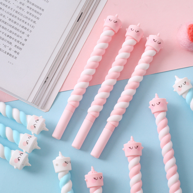 1PC Cute Cake Unicorn Pen Kawaii Neutral Pens 0.5mm Creative Twist Gel Pens For Kids Girl Gift School Office Supplies Stationery